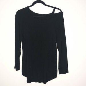 LA Made Sz Medium Black Long Sleeve Cold Shoulder